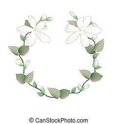 Blooming and budding Jasmine flowers wreath