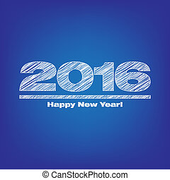 Happy new year 2016 illustration with blue background