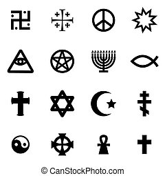 Vector black religious symbols set on white background