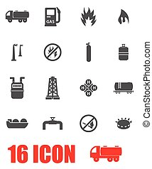 Vector grey natural gas icon set on white background