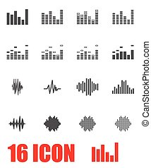 Vector grey music soundwave icon set on white background