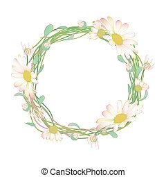 Blooming and budding Daisy flowers wreath