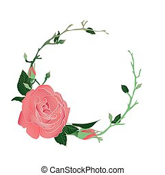 Blooming and budding pink rose flowers wreath