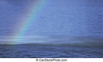 Rainbow in fountain - Fountain in Dnieper River and rainbow...