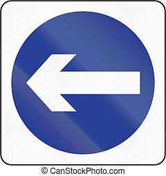 Turn Left in Brunei - Bruneian traffic sign: Turn left