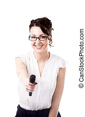 Young office woman interviewer with microphone on white...