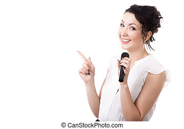 Young female speaker with microphone advertising on white...