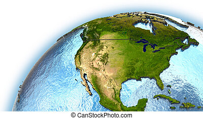 North America on planet Earth with embossed continents and...