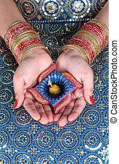 Diwali, celebração, Diya, ligado, Um,...