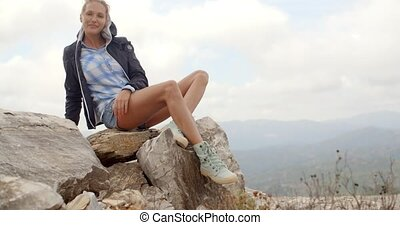 Portrait of Blond Woman, She Enjoys Mountain View, Slow...