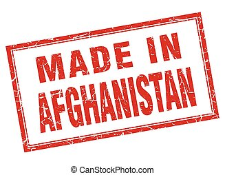 Afghanistan red square grunge made in stamp