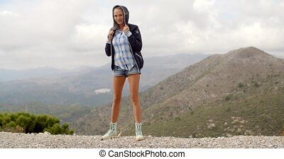 Beautiful Woman Stainding At The Top of Mountain Peak, Slow...