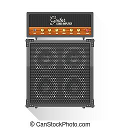 vector flat style electric guitar combo amplifier cabinet...