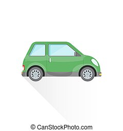 vector flat green compact city car body style illustration...