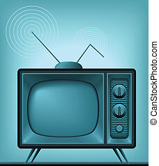 TV Antique Vector Image - Vector image of an antique TV Add...