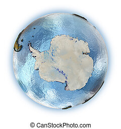 Antarctica - Planet Earth with embossed continents and...