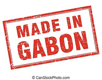 Gabon red square grunge made in stamp