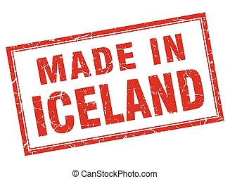 Iceland red square grunge made in stamp