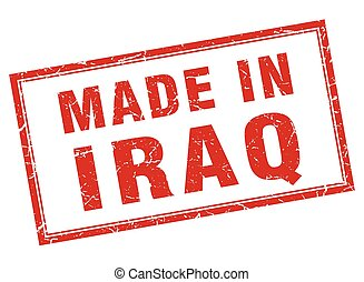 Iraq red square grunge made in stamp