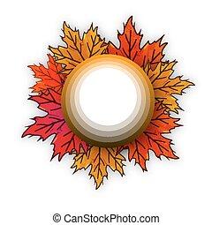circle on autumn leaves