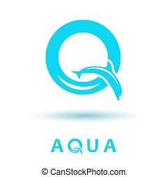 Q letter logo - Q letter sign, dolphin logo, water show, 2d...