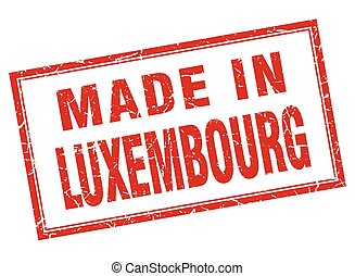 Luxembourg red square grunge made in stamp