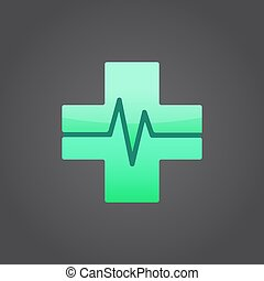 Medical cross sign, m letter, 2d vector on dark background,...