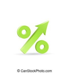 Percent up icon, economic recovery, 3d vector on white...