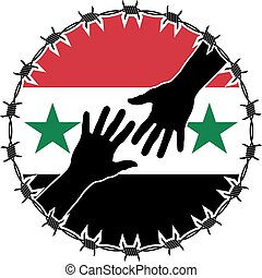 humanitarian disaster in syria vector illustration