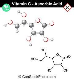 ascorbico, acido, molecola, vitamina, c,