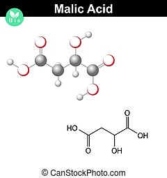 Malic acid molecule, malate, structural chemical formula and...