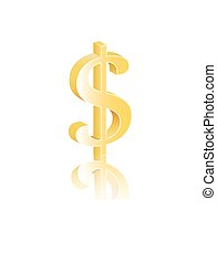 US Dollar 3d icon - U.S. Dollar 3d icon with reflection on...