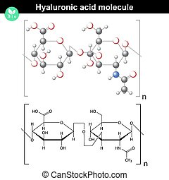 Hyaluronic acid molecule, model and molecular structure, 2d...