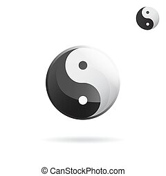 Ying and Yang sign, religious symbol, vector icon on white...