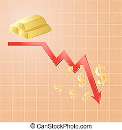 Fall in gold prices, cheap gold concept, 3d vector, eps 10