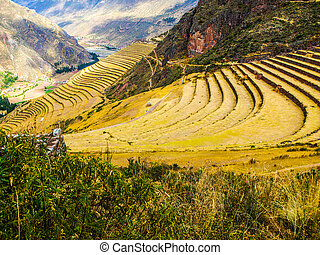Incan terraces in Pisac - Terraces as a part of incan...