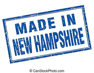 New Hampshire blue square grunge made in stamp