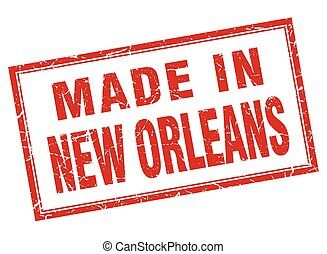 New Orleans red square grunge made in stamp