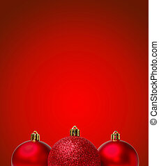 Red Christmas Balls on Red Background New Year Greating Card...