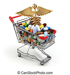 Pharmacy medicine concept. Shopping cart with pills and...