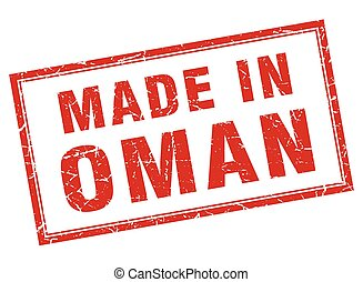 Oman red square grunge made in stamp