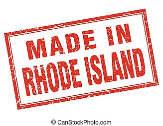 Rhode Island red square grunge made in stamp