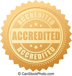 Accredited gold certificate isolated on white background