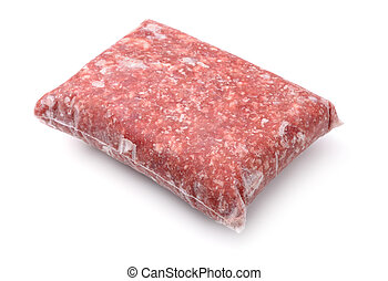 Frozen meat - Pack of frozen ground meat isolated on white