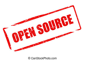 Open source rubber stamp isolated on white background