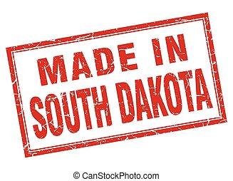 South Dakota red square grunge made in stamp
