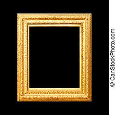 Gold frame on black background