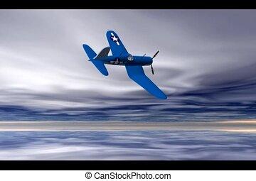 world War 2 Fighter - World war 2 fighter doing an aileron...