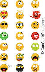 Collection of smiles - Set of 21 smiley vector illustrations