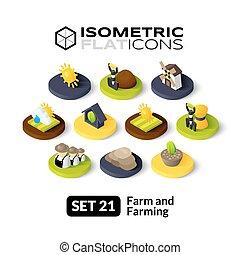 Isometric flat icons set 21 - Isometric flat icons, 3D...